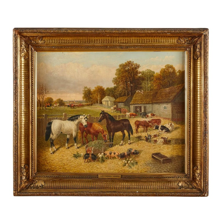 John Frederick Herring Jr. Landscape Painting - Painting of horses and farm animals by Herring the Younger