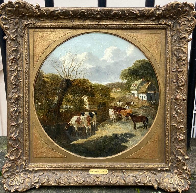 Pair of Farmyard Scenes by J.F. Herring Jr - Painting by John Frederick Herring Jr.