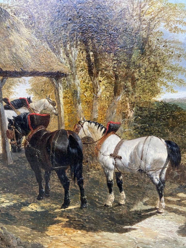 Pair of Farmyard Scenes by J.F. Herring Jr - Brown Animal Painting by John Frederick Herring Jr.