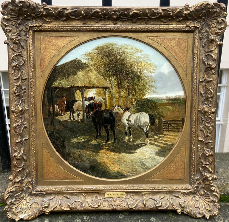John Frederick Herring Jr. Animal Painting - Pair of Farmyard Scenes by J.F. Herring Jr