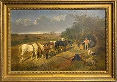 """Resting the team"" - A plough team, with horses in a landscape"