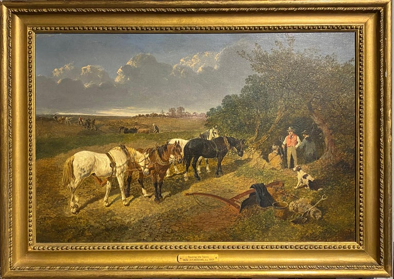 """John Frederick Herring Jr. Animal Painting - """"Resting the team"""" - A plough team, with horses in a landscape"""