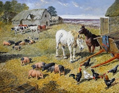 The Farmyard - 19th Century English Landscape Oil Painting