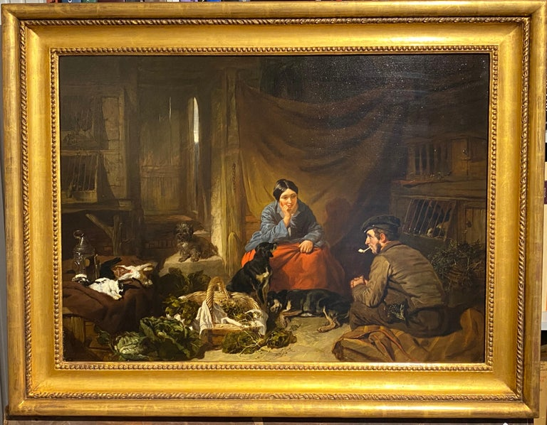 A Victorian cottage interior with figures talking, dogs resting... For Sale 3