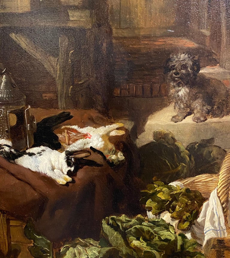A Victorian cottage interior with figures talking, dogs resting... For Sale 1