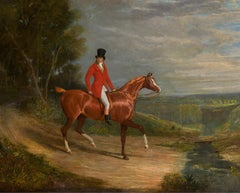 A gentleman riding a chestnut hunter, wearing hunting habit, in a landscape