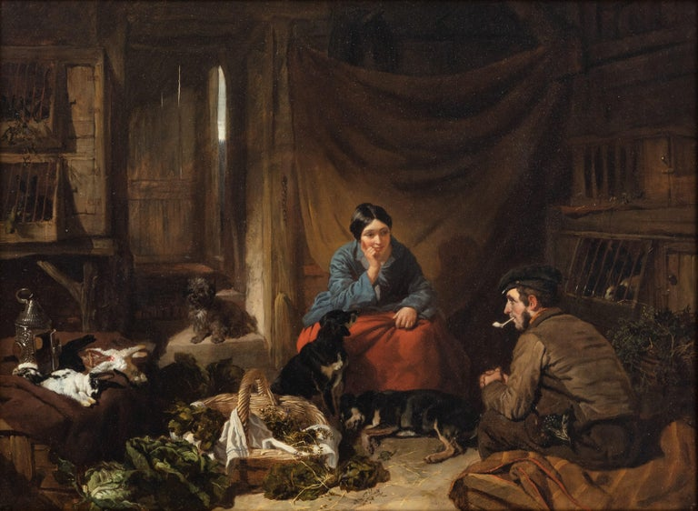 A Victorian cottage interior with figures talking, dogs resting... - Painting by John Frederick Herring Sr.