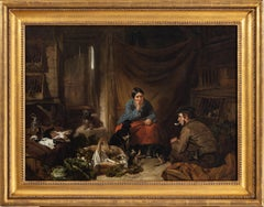 A Victorian cottage interior with figures talking, dogs resting...