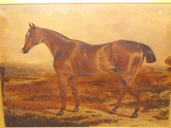 Antique oil painting on canvas of Brown Prize Hunting Horse 19th century
