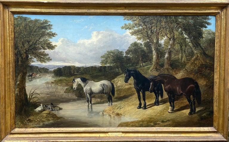 John Frederick Herring Sr. Animal Painting - Portrait of horses, Hunters at Grass (Summer Holidays)