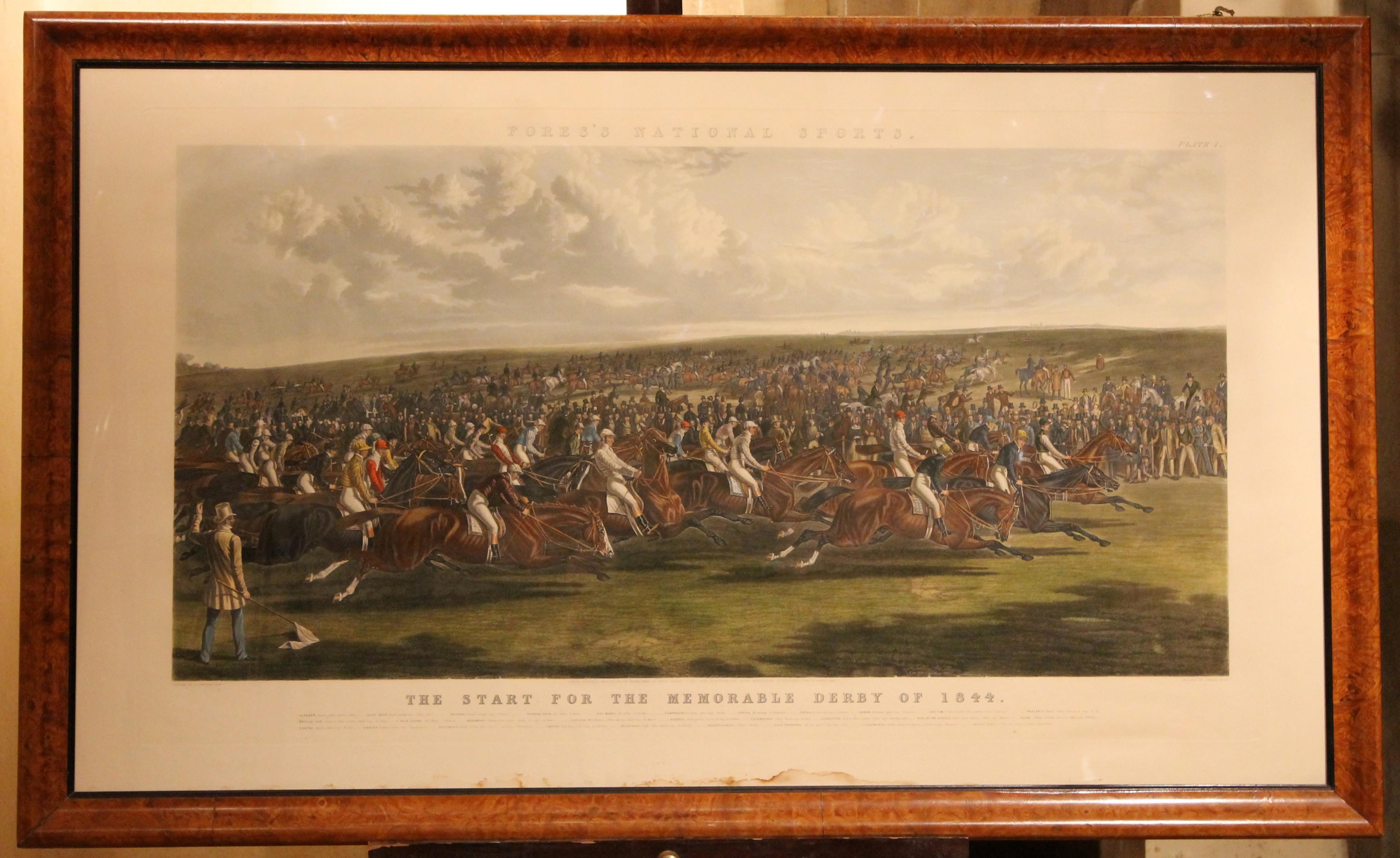Antique English Hand Colored Engraving Equestrian Landscape Scene in Burl Frame