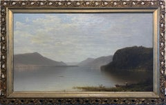 Hudson River Landscape with Fishing Boats and Figures, Framed Oil on Canvas