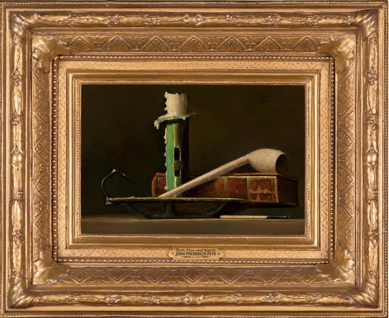 Still Life with Green Candlestick and Book - Painting by John Frederick Peto