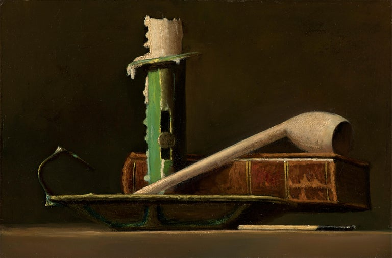 John Frederick Peto Still-Life Painting - Still Life with Green Candlestick and Book