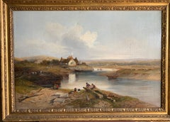 19th century English River landscape with figures, horses, cottage, sheep