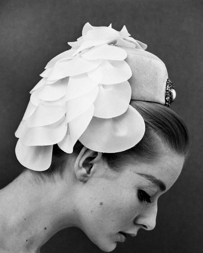 John French Figurative Photograph - 'White Feathered Hat'  Oversize Limited Edition -  Victoria and Albert Museum