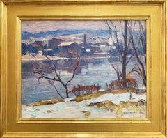 John Folinsbee, Delaware River & Lambertville, NJ, ca. 1930, Signed