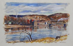 John Folinsbee, View of New Hope from Lambertville, Oil on Paper, Signed