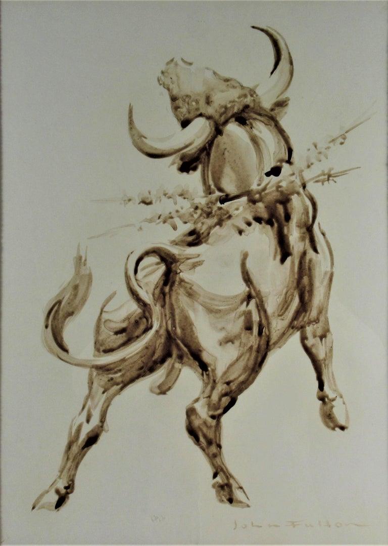 Bull - American Realist Mixed Media Art by John Fulton Short