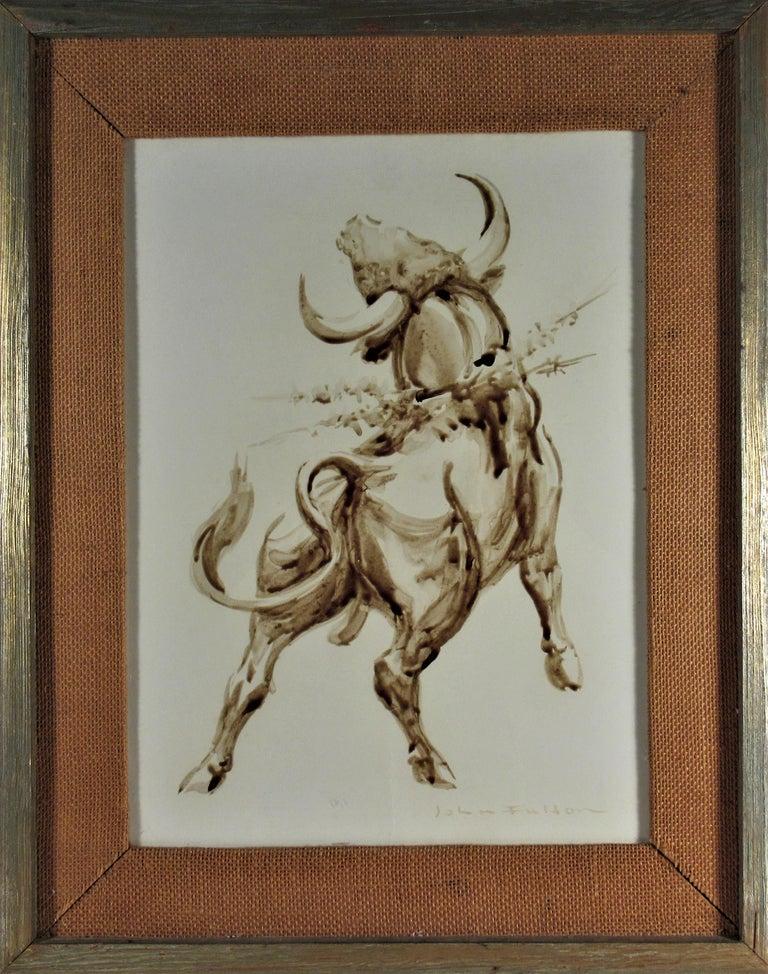 Bull - Mixed Media Art by John Fulton Short