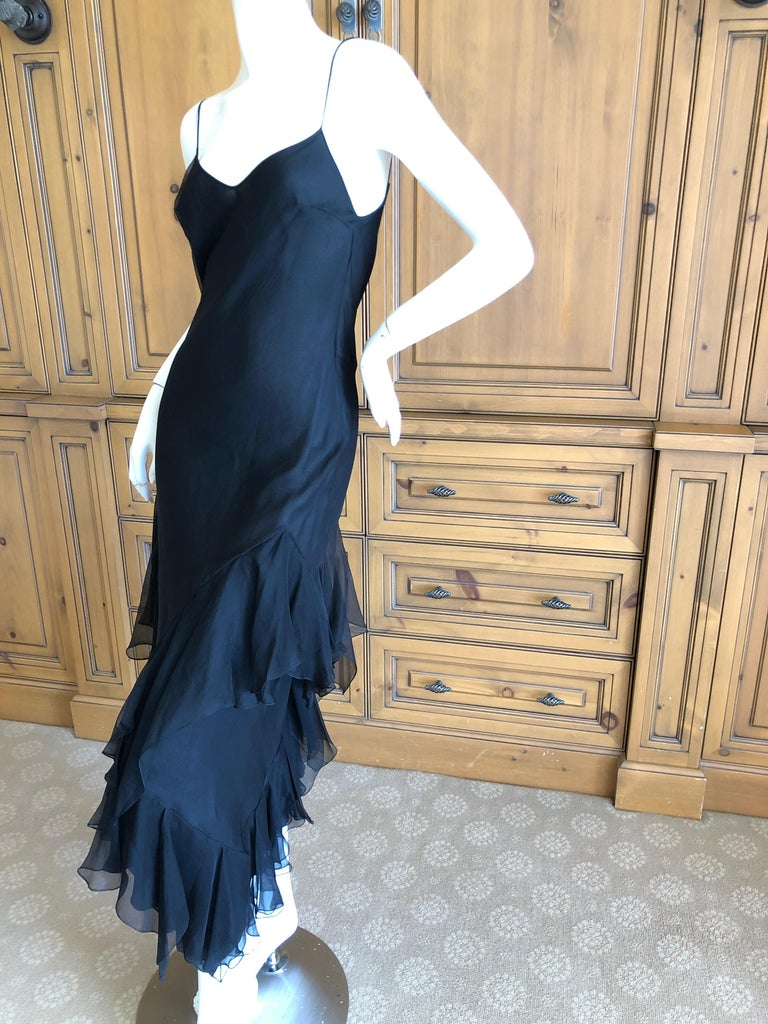 John Galliano 1990's Bias Cut Black Slip Dress with Flamenco Ruffles. So pretty, simple and elegant . Size 40 Bust 36