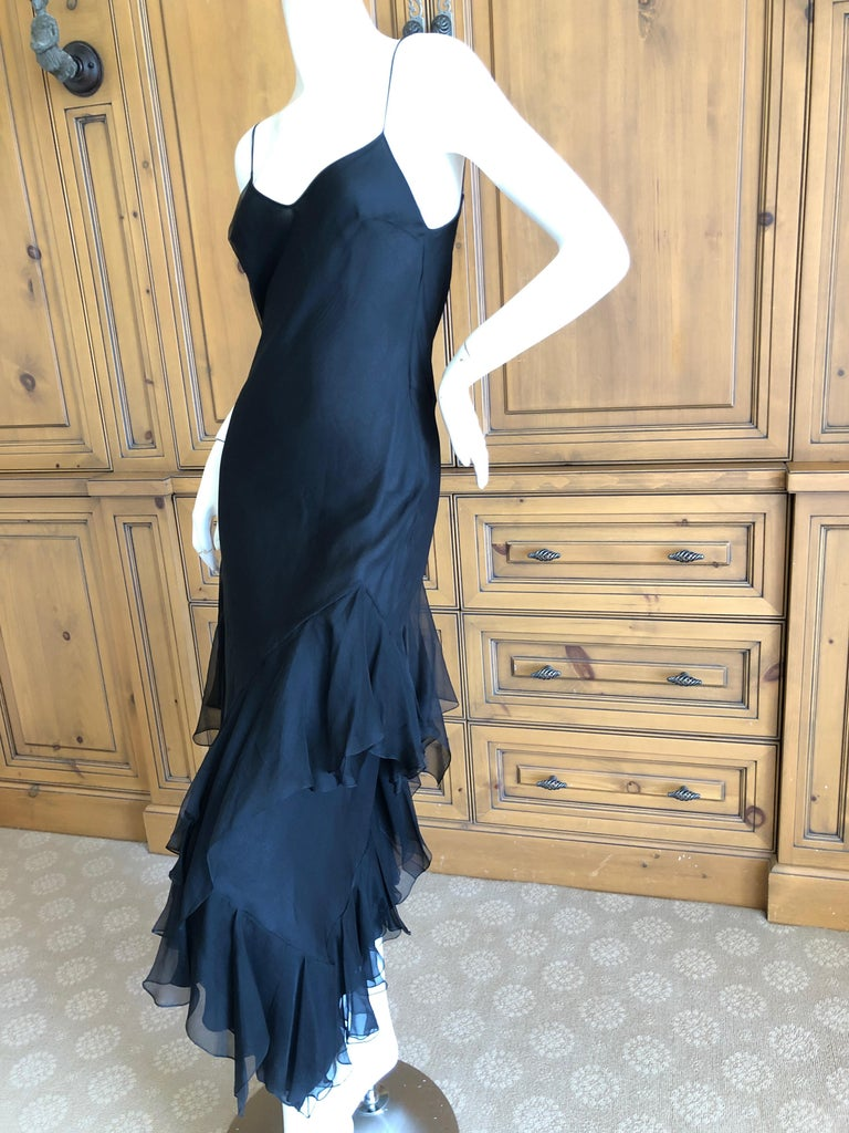 John Galliano 1990's Bias Cut Black Slip Dress with Flamenco Ruffles In Excellent Condition For Sale In San Francisco, CA