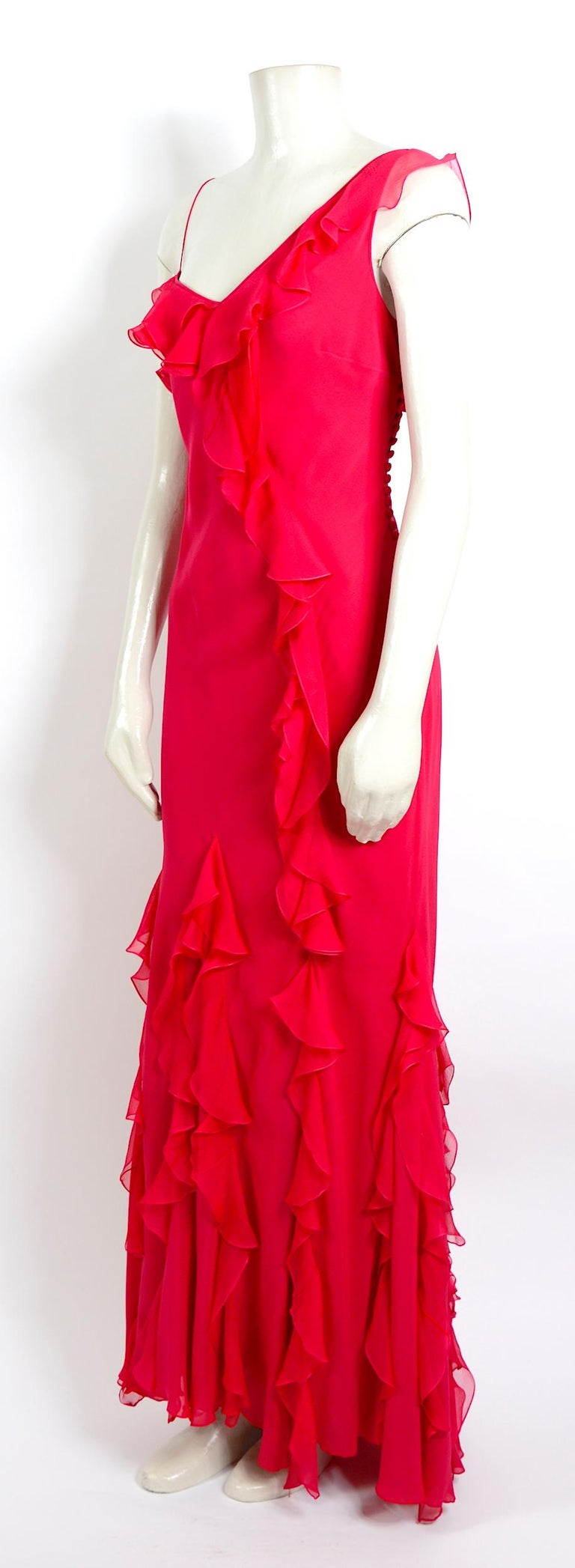 Red John Galliano 1990s vintage red silk bias cut ruffle dress For Sale