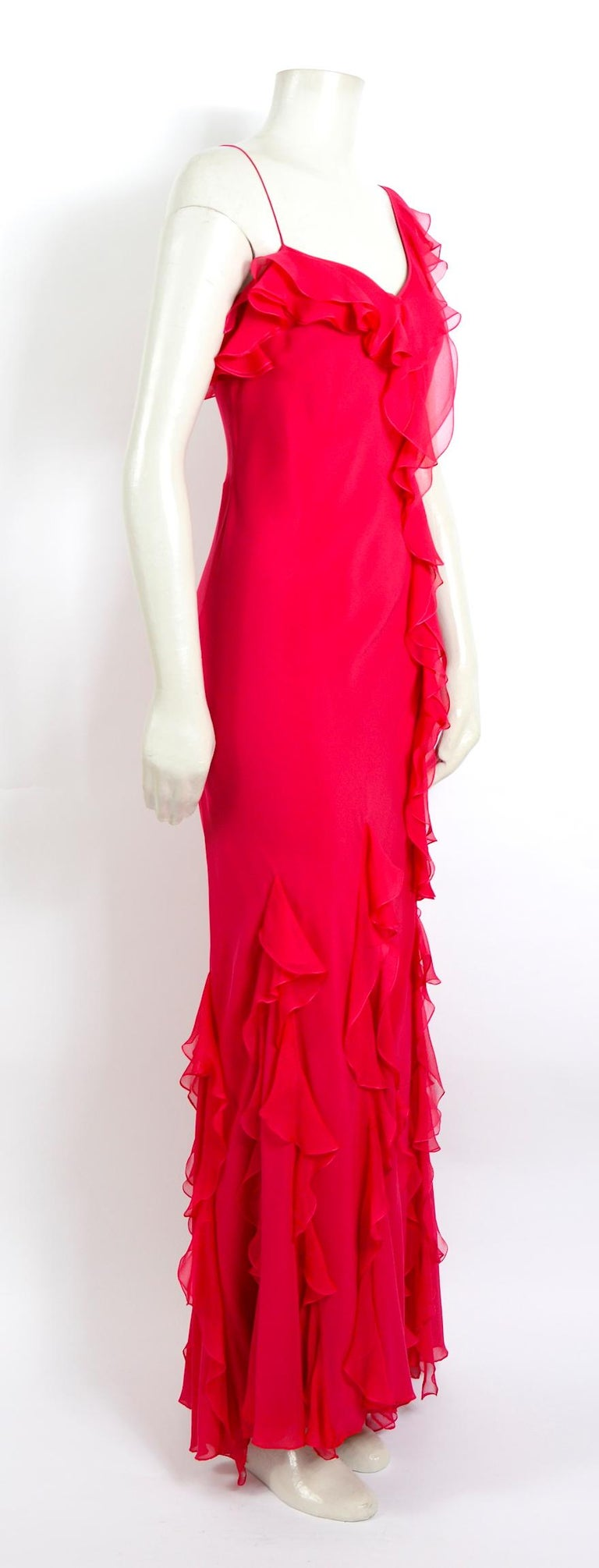 John Galliano 1990s vintage red silk bias cut ruffle dress In Excellent Condition For Sale In Antwerp, BE