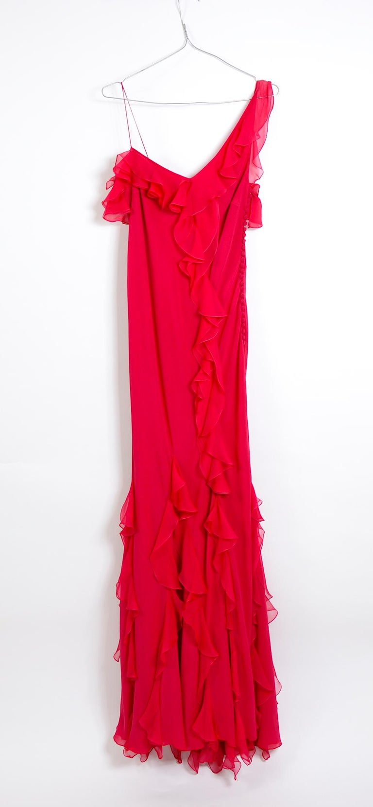 John Galliano 1990s vintage red silk bias cut ruffle dress For Sale 1