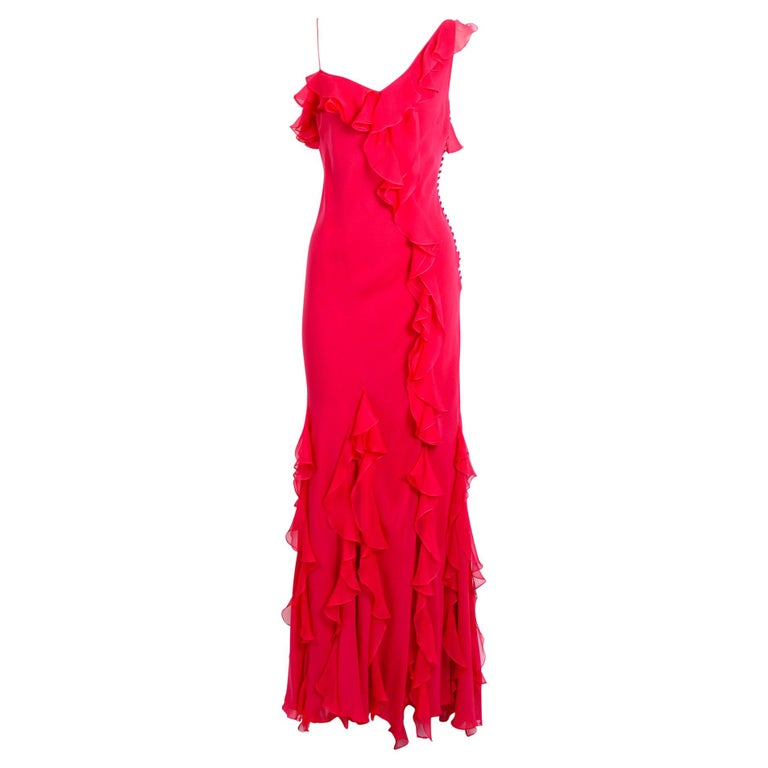John Galliano 1990s vintage red silk bias cut ruffle dress For Sale