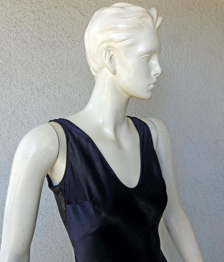 John Galliano 1997 Navy Blue Dramatic Vintage 1930's Harlowesque Gown In Excellent Condition For Sale In Los Angeles, CA