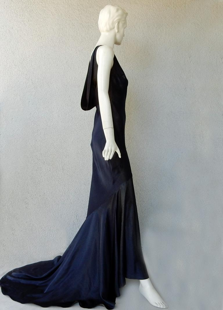 Women's John Galliano 1997 Navy Blue Dramatic Vintage 1930's Harlowesque Gown For Sale