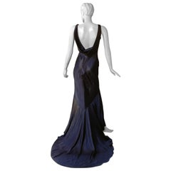 John Galliano 1997 Navy Blue Dramatic Vintage 1930's Harlowesque Gown