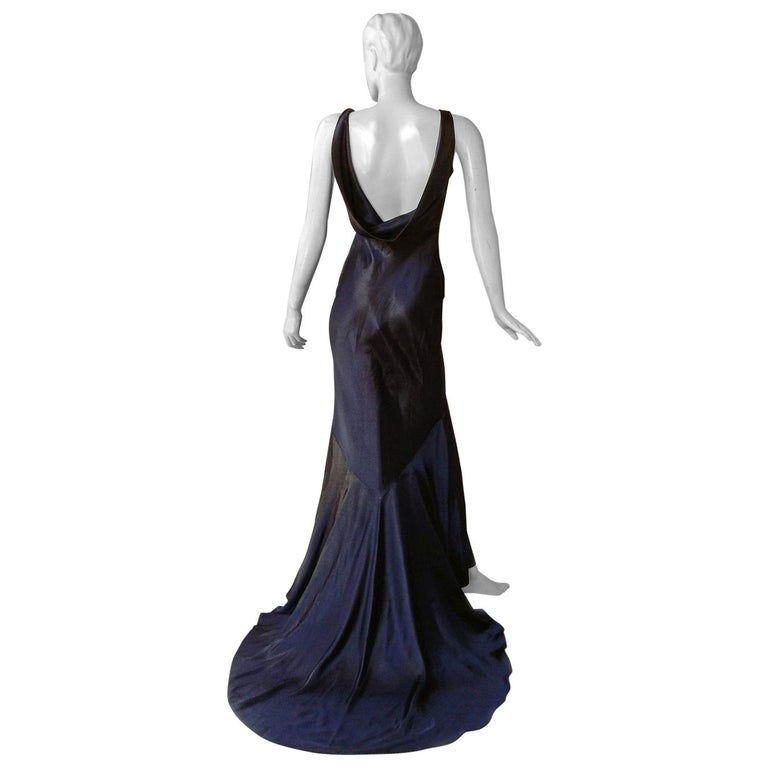 John Galliano 1997 Navy Blue Dramatic Vintage 1930's Harlowesque Gown For Sale