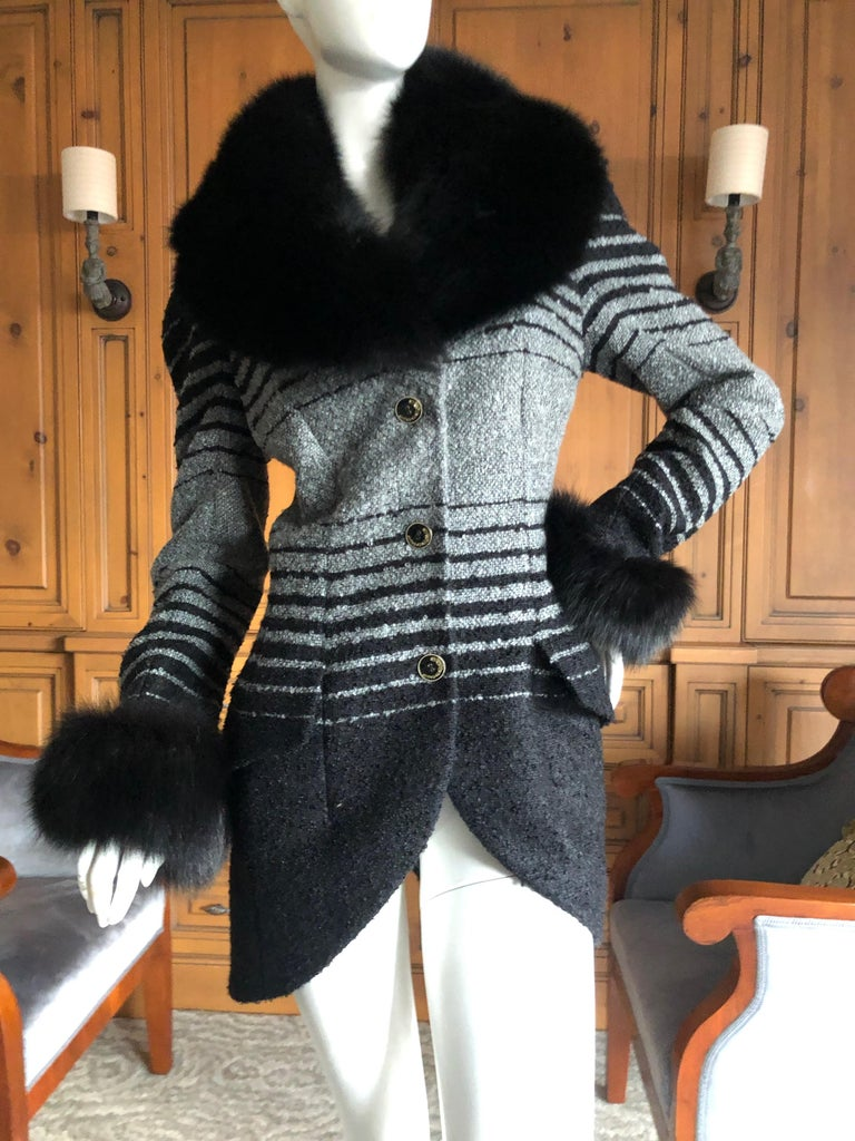 John Galliano 1999 Ombre Striped Jacket with Fox Fur Collar and Cuffs Size 42  Bust 40