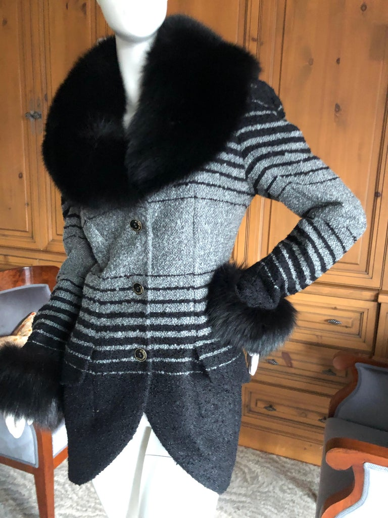 Black John Galliano 1999 Ombre Striped Jacket with Fox Fur Collar and Cuffs For Sale