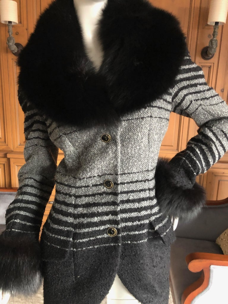 Women's John Galliano 1999 Ombre Striped Jacket with Fox Fur Collar and Cuffs For Sale
