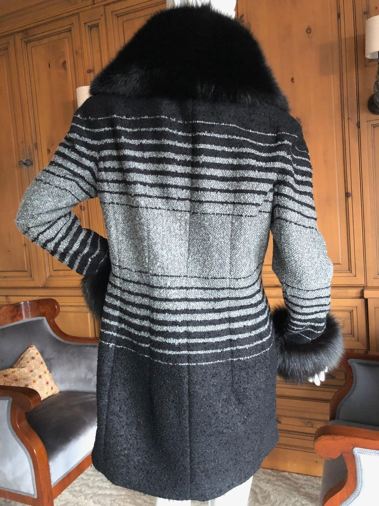 John Galliano 1999 Ombre Striped Jacket with Fox Fur Collar and Cuffs For Sale 2