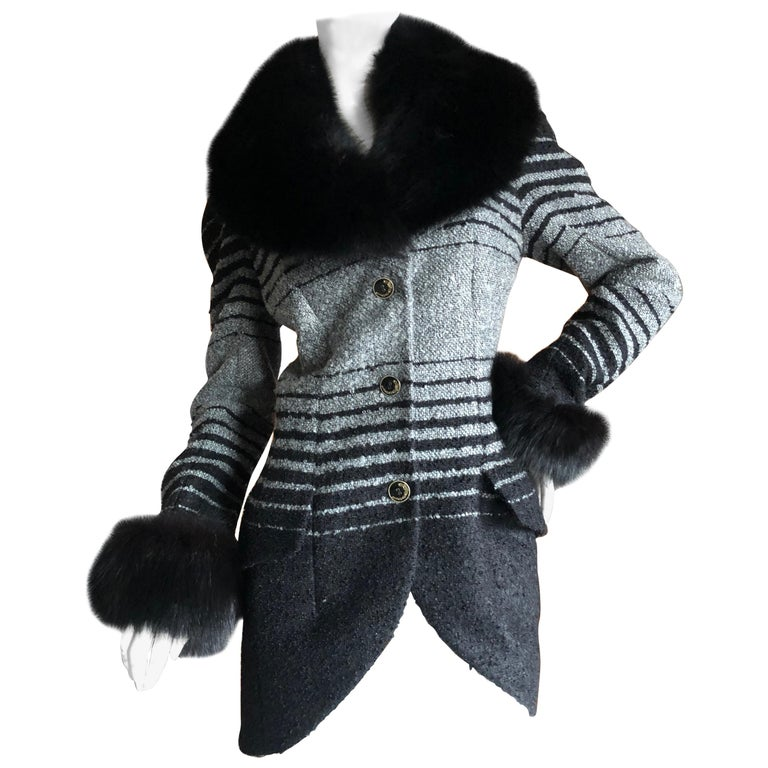 John Galliano 1999 Ombre Striped Jacket with Fox Fur Collar and Cuffs For Sale