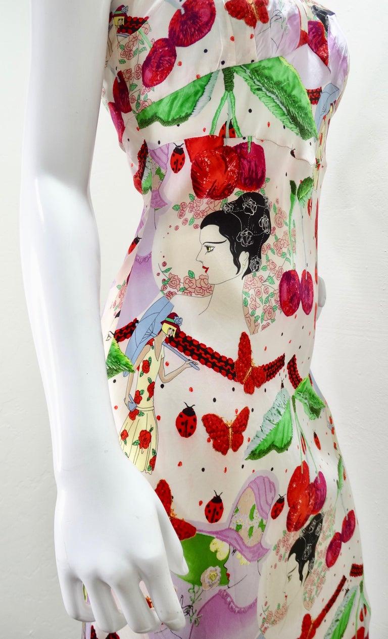 John Galliano 2000s Cherry Motif Silk Slip Dress  5