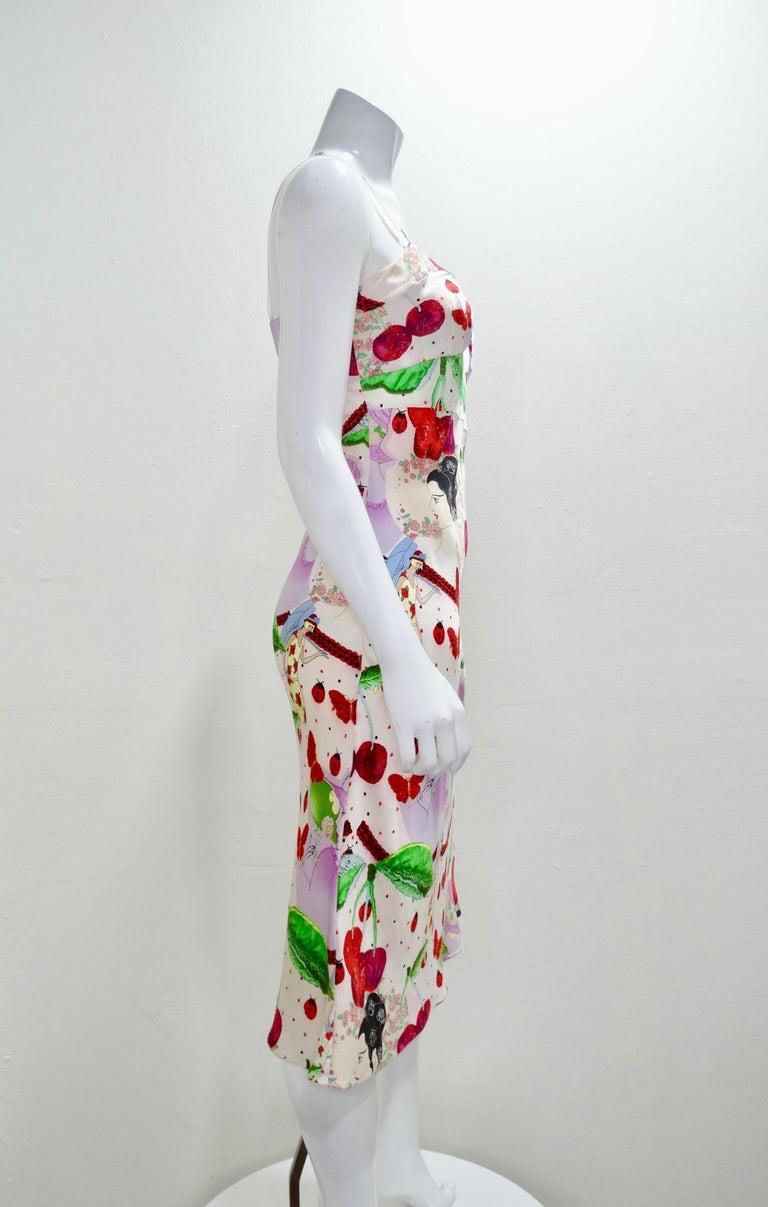 Gray John Galliano 2000s Cherry Motif Silk Slip Dress