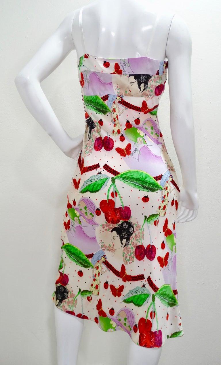 Women's or Men's John Galliano 2000s Cherry Motif Silk Slip Dress