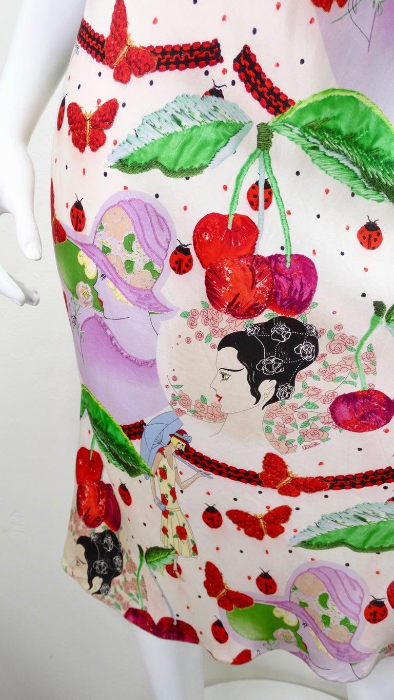 John Galliano 2000s Cherry Motif Silk Slip Dress  4