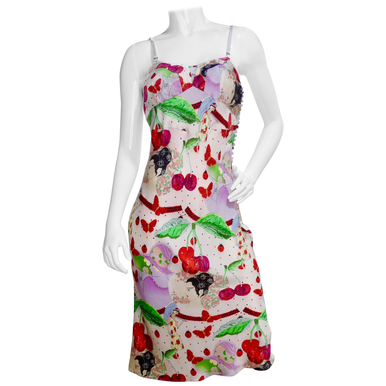 John Galliano 2000s Cherry Motif Silk Slip Dress