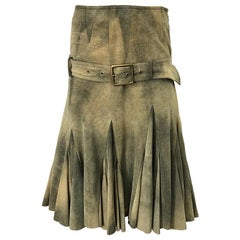 John Galliano 2000s Leather Size 4 Distressed Print Drop Waist Belted Skirt