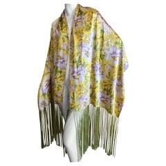John Galliano 2008 Silk Floral Print  Piano Fringe Shawl
