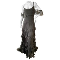 John Galliano Army Green Silk Ruffled Evening Dress with Dramatic Low Back