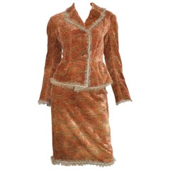 John Galliano Auburn Knit Velvet Skirt and Jacket Set with Lapin Trim