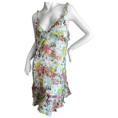 John Galliano Beach Wear Vintage Witty Beach Drawing Print Dress Size 46 New