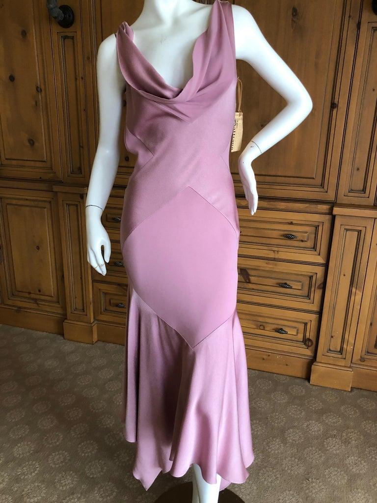 Women's John Galliano Bias Cut Pink Diamond Pattern Cowl Draped Vintage Dress New w Tags For Sale